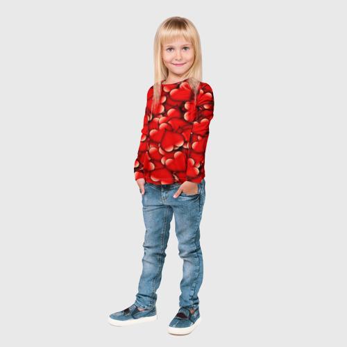 Детский лонгслив 3D Сердечки Фото 01