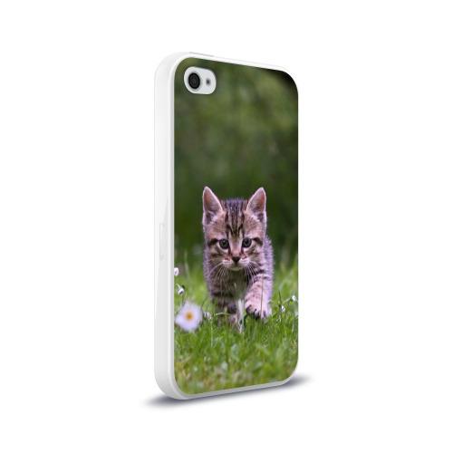 Чехол для Apple iPhone 4/4S силиконовый глянцевый  Фото 02, Котенок на траве