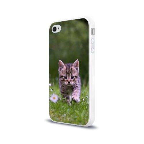 Чехол для Apple iPhone 4/4S силиконовый глянцевый  Фото 03, Котенок на траве