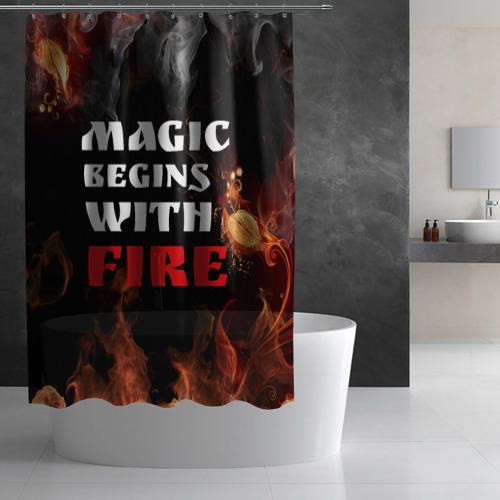 Штора 3D для ванной  Фото 02, Волшебство начинается с огня