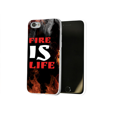 Чехол для Apple iPhone 8 силиконовый глянцевый  Фото 02, Fire is life (Огонь это жизнь)