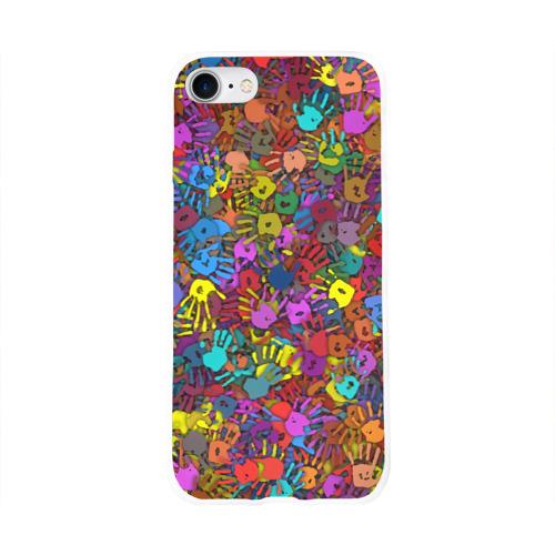 Чехол для Apple iPhone 8 силиконовый глянцевый  Фото 01, Разноцветные отпечатки рук