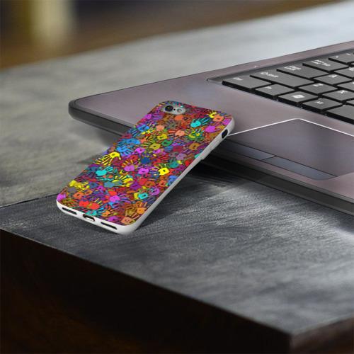 Чехол для Apple iPhone 8 силиконовый глянцевый  Фото 03, Разноцветные отпечатки рук