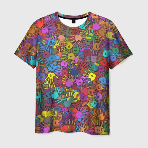 Мужская футболка 3D  Фото 03, Разноцветные отпечатки рук