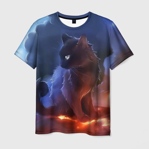 Мужская футболка 3D Night cat