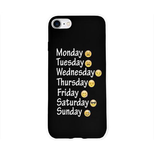 Чехол для Apple iPhone 8 силиконовый глянцевый  Фото 01, футболка настроение дни недели