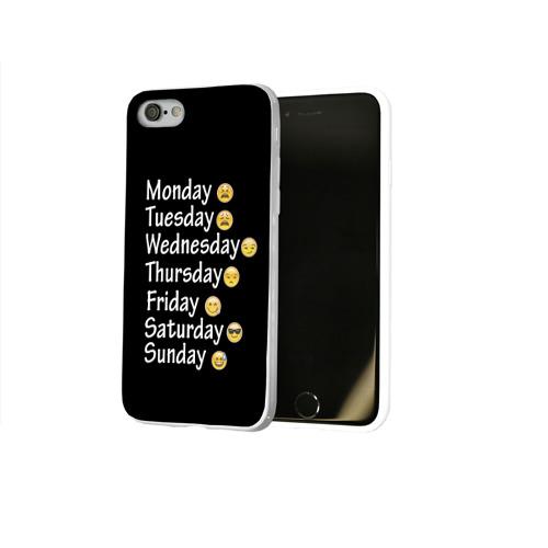Чехол для Apple iPhone 8 силиконовый глянцевый  Фото 02, футболка настроение дни недели