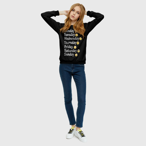 Женский свитшот 3D  Фото 01, футболка настроение дни недели