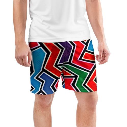 Мужские шорты 3D спортивные  Фото 03, Изогнутые линии