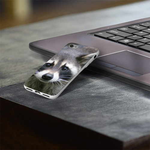 Чехол для Apple iPhone 8 силиконовый глянцевый  Фото 03, Озадаченный енот