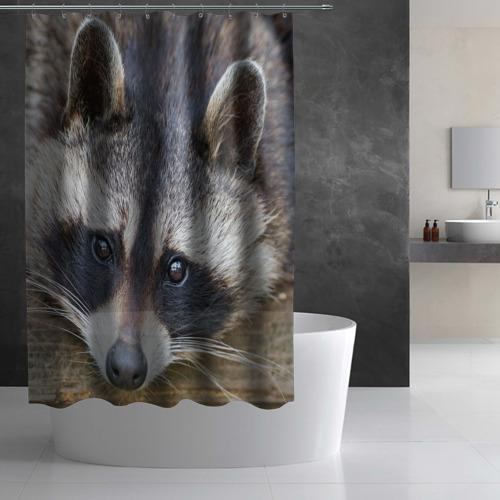 Штора 3D для ванной  Фото 03, Енот
