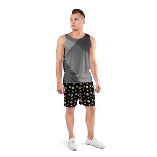 Мужские шорты 3D спортивные  Фото 04, Ромашки