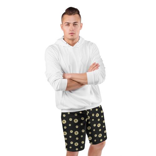 Мужские шорты 3D спортивные  Фото 05, Ромашки