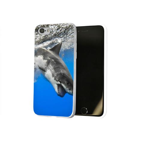 Чехол для Apple iPhone 8 силиконовый глянцевый  Фото 02, Акула