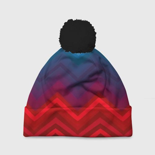 Шапка 3D c помпоном  Фото 01, Zigzag pattern