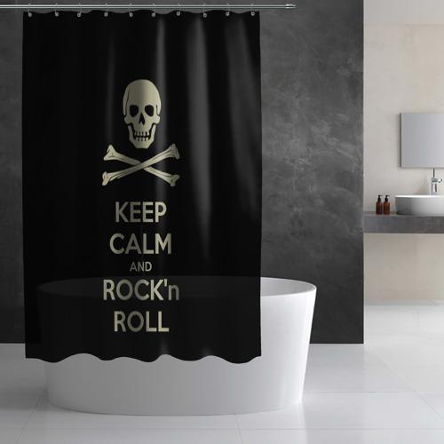 Штора 3D для ванной  Фото 03, Keep Calm and ROCK
