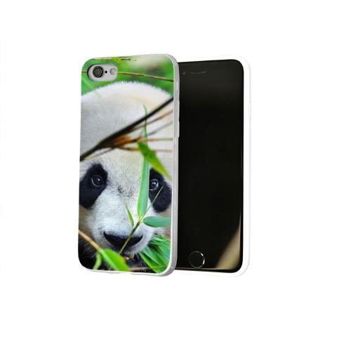 Чехол для Apple iPhone 8 силиконовый глянцевый  Фото 02, Панда в лесу
