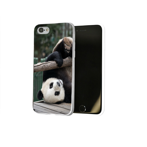 Чехол для Apple iPhone 8 силиконовый глянцевый  Фото 02, Паркур панда
