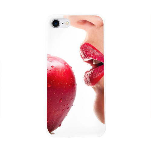 Чехол для Apple iPhone 8 силиконовый глянцевый  Фото 01, Яблоко и губы