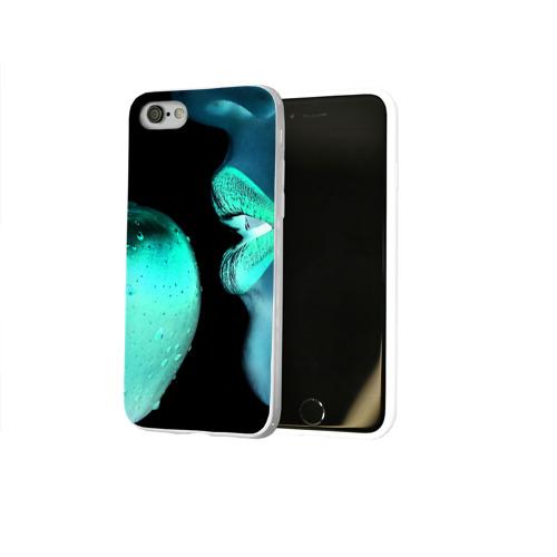 Чехол для Apple iPhone 8 силиконовый глянцевый  Фото 02, Негатив яблоко и губы