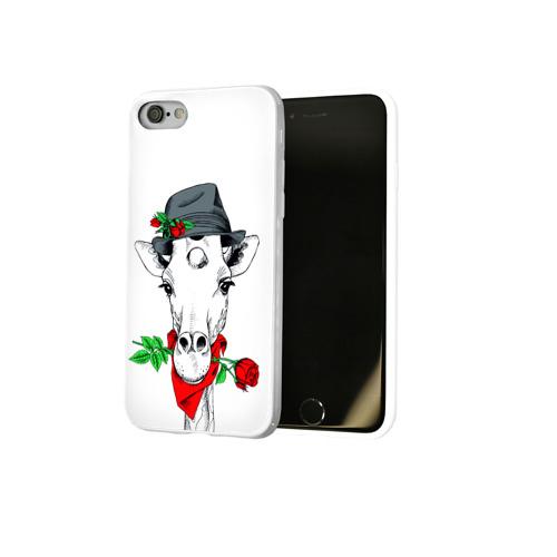 Чехол для Apple iPhone 8 силиконовый глянцевый  Фото 02, Жираф джентльмен