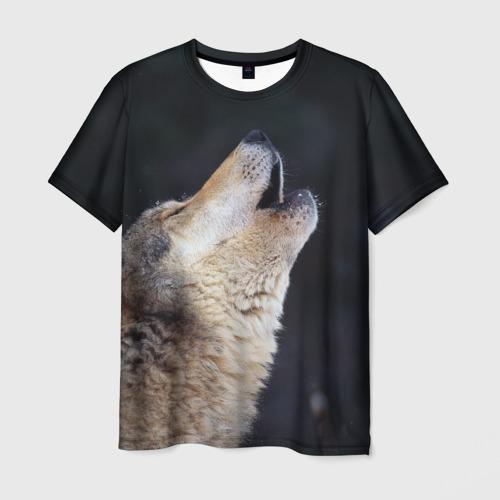 Мужская футболка 3D  Фото 03, Вой серого волка