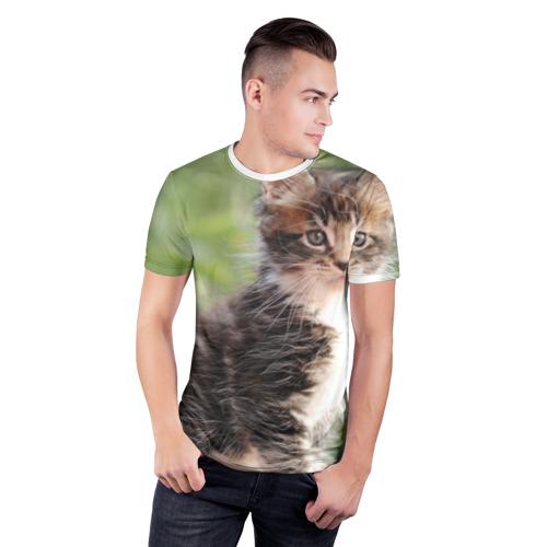 Мужская футболка 3D спортивная  Фото 03, Породистый котено