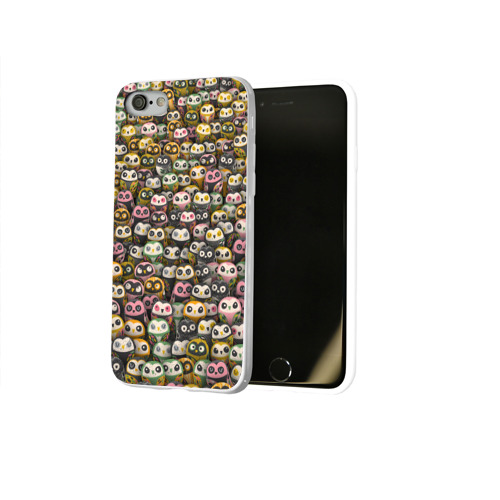 Чехол для Apple iPhone 8 силиконовый глянцевый  Фото 02, Совы