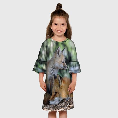 Детское платье 3D  Фото 01, Лиса и лесенок