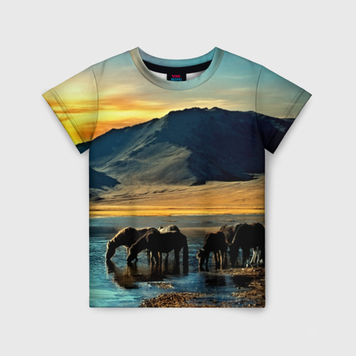 Детская футболка 3D Лошади