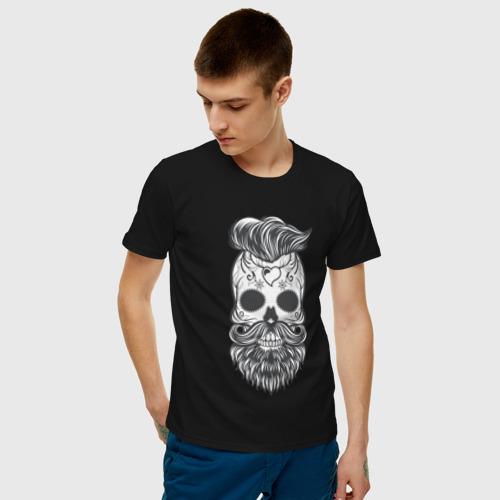 Мужская футболка хлопок Бородатый череп Фото 01