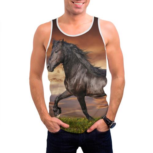 Мужская майка 3D  Фото 03, Черный конь