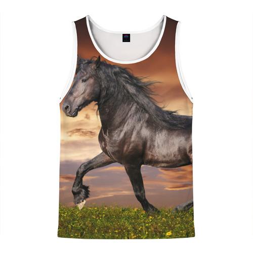 Мужская майка 3D  Фото 01, Черный конь