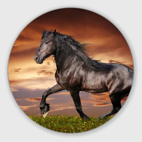 Коврик для мышки круглый  Фото 01, Черный конь