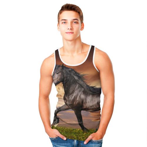 Мужская майка 3D  Фото 05, Черный конь