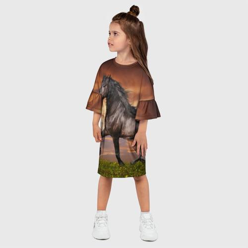Детское платье 3D  Фото 03, Черный конь