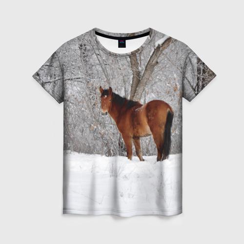 Женская футболка 3D Лошадка в зимнем лесу
