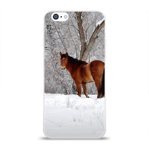 Чехол для Apple iPhone 6 силиконовый глянцевый  Фото 01, Лошадка в зимнем лесу