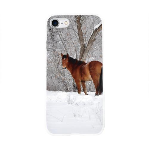 Чехол для Apple iPhone 8 силиконовый глянцевый  Фото 01, Лошадка в зимнем лесу