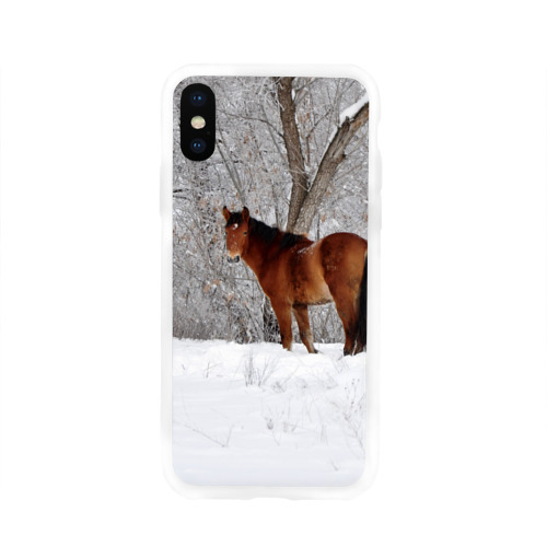 Чехол для Apple iPhone X силиконовый глянцевый Лошадка в зимнем лесу