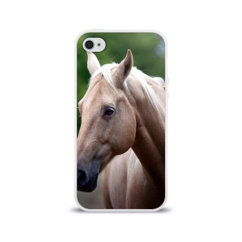 Чехол для Apple iPhone 4/4S силиконовый глянцевый Лошадь Фото 01