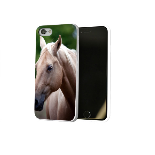 Чехол для Apple iPhone 8 силиконовый глянцевый  Фото 02, Лошадь