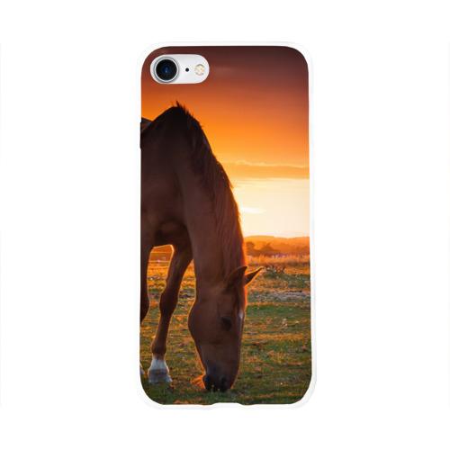 Чехол для Apple iPhone 8 силиконовый глянцевый  Фото 01, Лошадь на закате