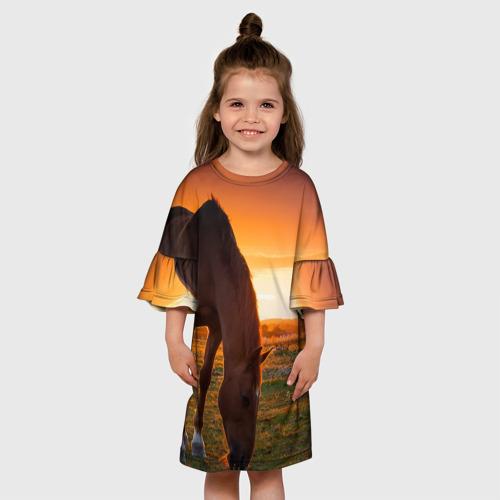 Детское платье 3D  Фото 01, Лошадь на закате