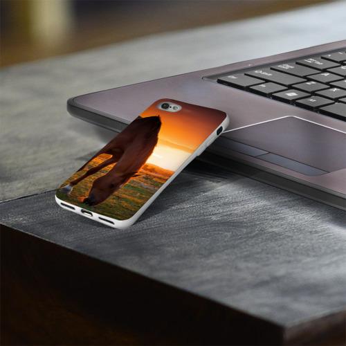 Чехол для Apple iPhone 8 силиконовый глянцевый  Фото 03, Лошадь на закате