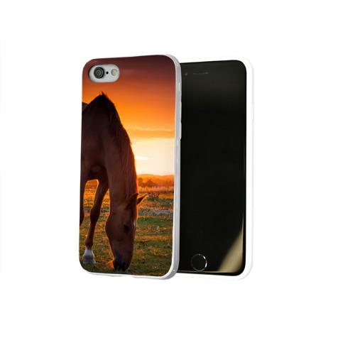 Чехол для Apple iPhone 8 силиконовый глянцевый  Фото 02, Лошадь на закате