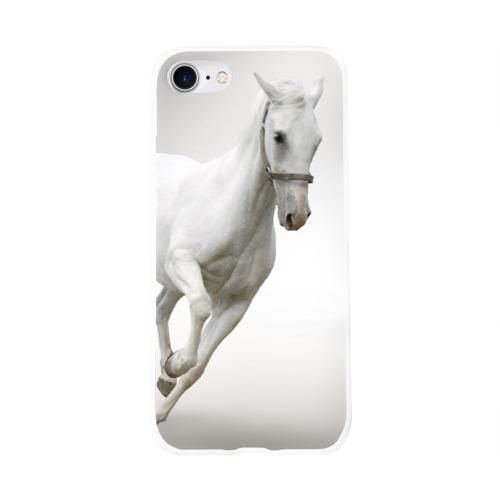 Чехол для Apple iPhone 8 силиконовый глянцевый  Фото 01, Белый конь