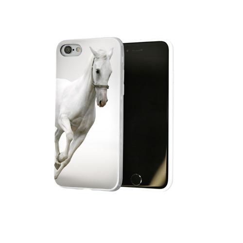 Чехол для Apple iPhone 8 силиконовый глянцевый  Фото 02, Белый конь