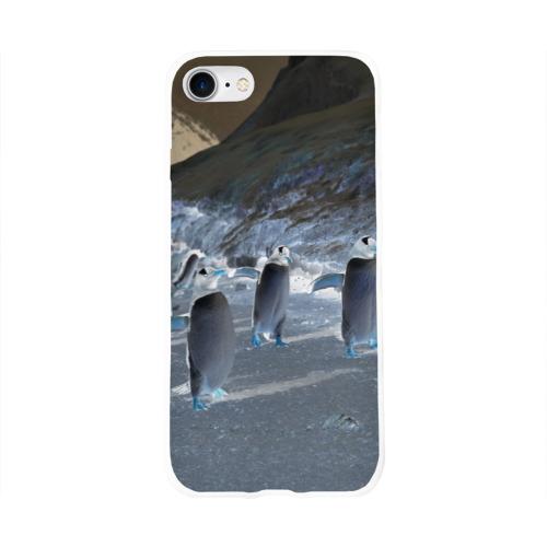 Чехол для Apple iPhone 8 силиконовый глянцевый  Фото 01, Ночные пингвины в горах