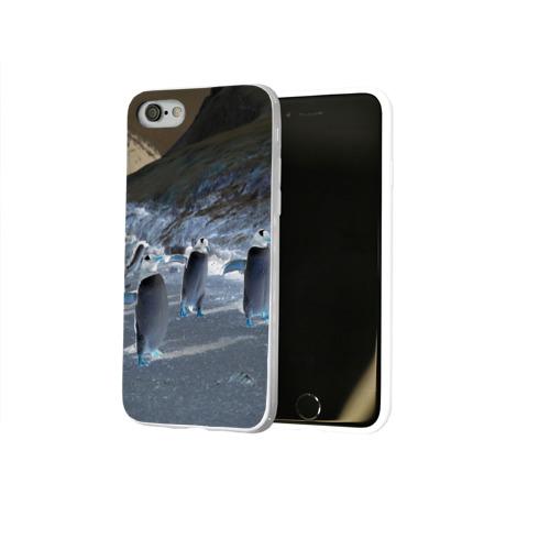 Чехол для Apple iPhone 8 силиконовый глянцевый  Фото 02, Ночные пингвины в горах